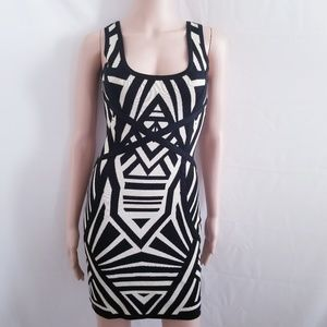 Material Girl Black and Tan Bodycon Dress